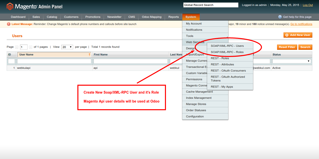 Users Web Services System Magento Admin