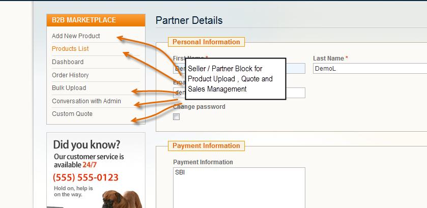 B2B marketplace seller Dashboard/panel management