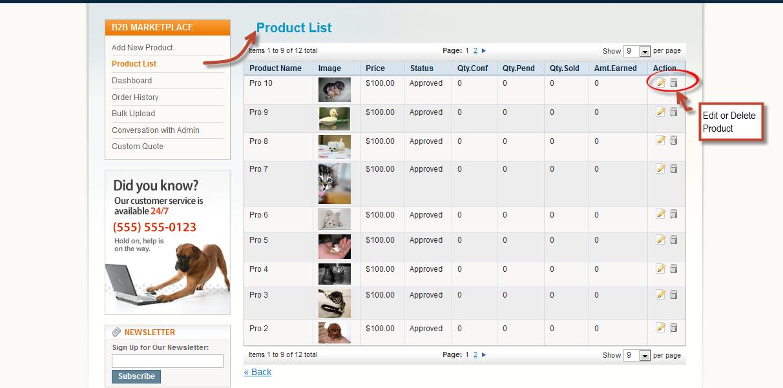 Seller Product List