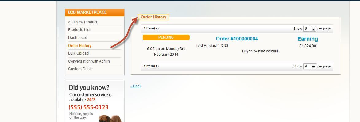 Seller Order History