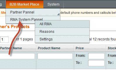 RMA System Pannel