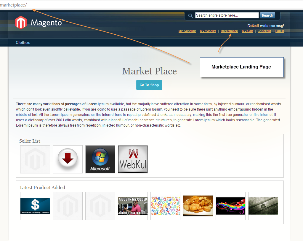 magento marketplace landing page