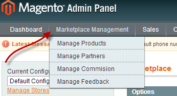magento marketplace menu