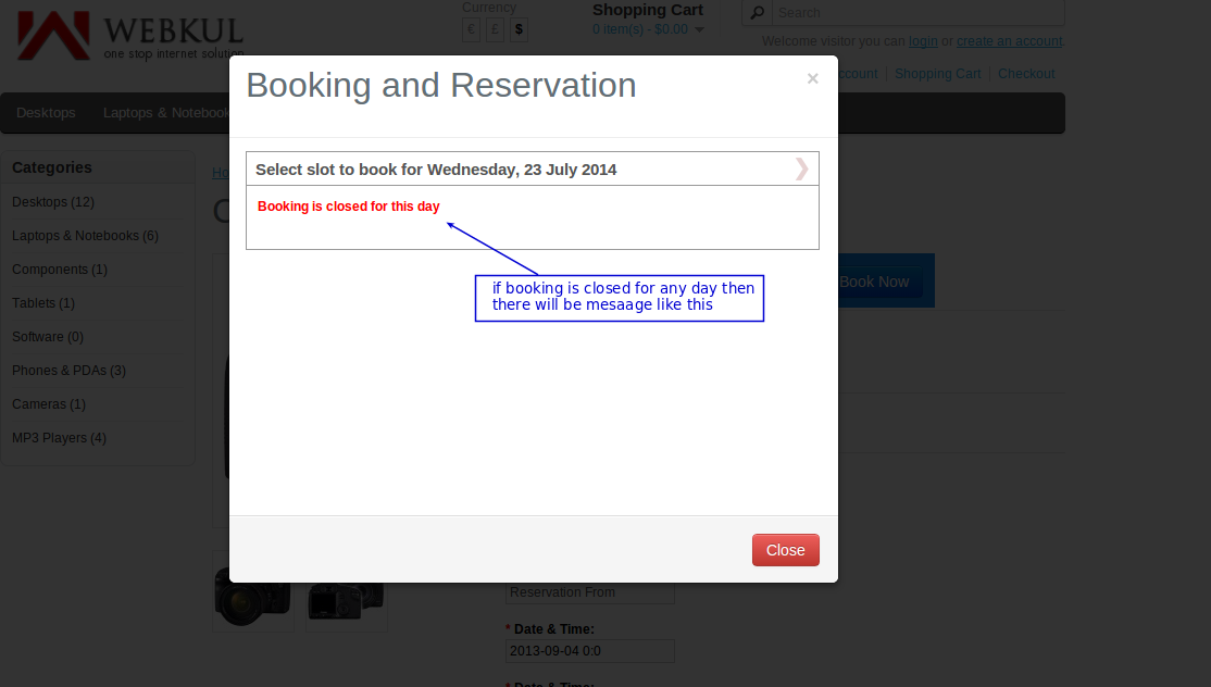 many booking in one day close day error