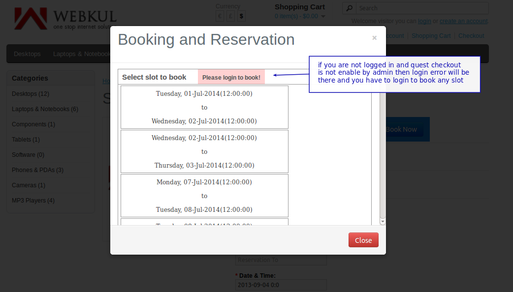 single booking for multiple days front end login error