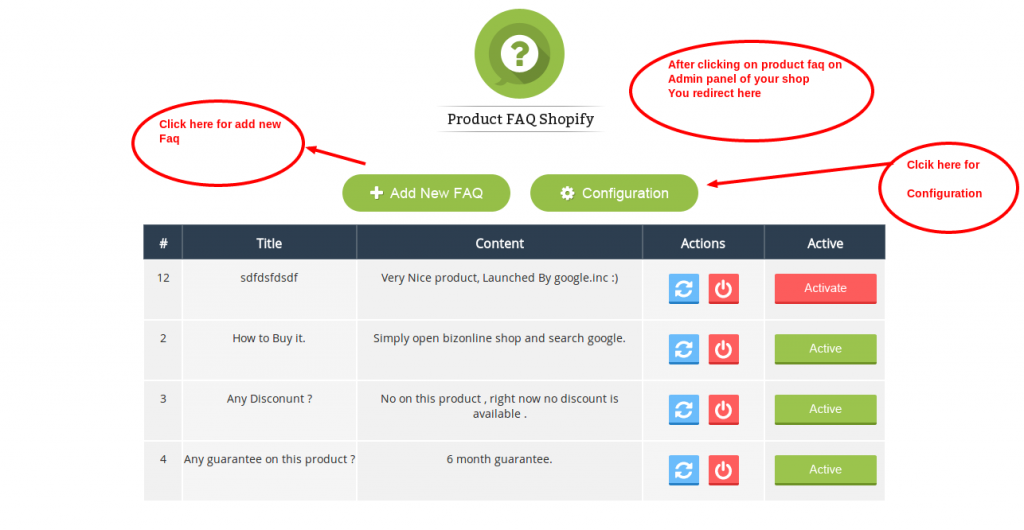Shopify Product FAQ Welcome page