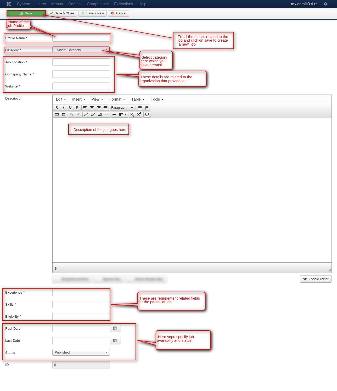 myjoomla3.4 - Administration - Jobboards New