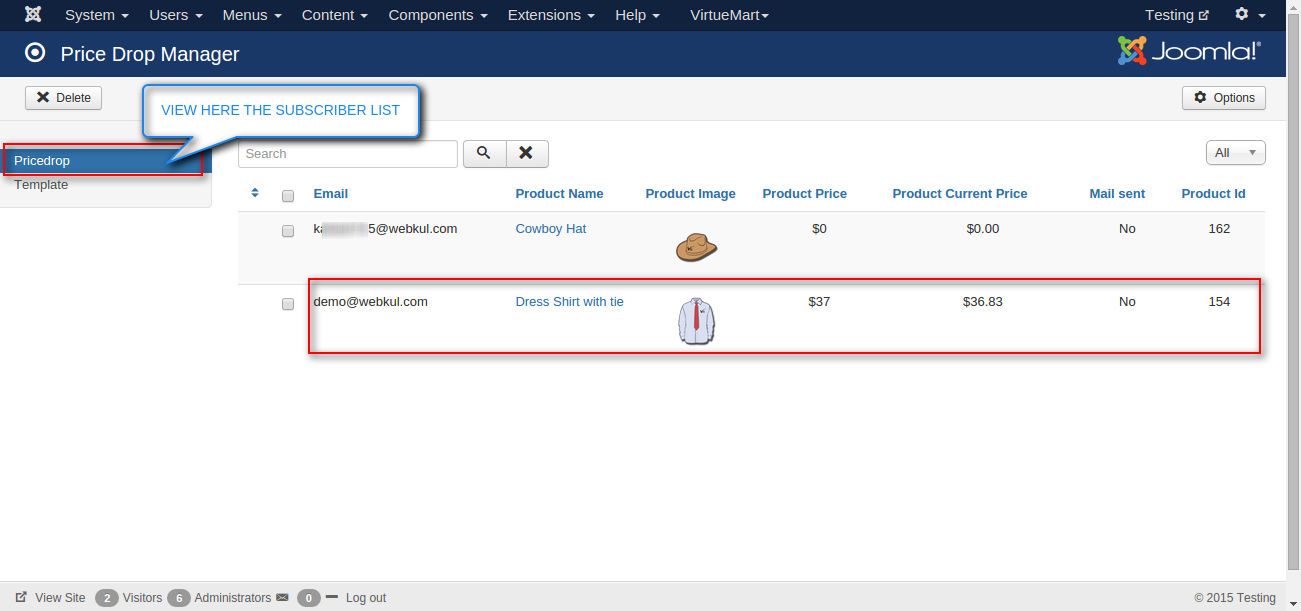 Joomla Virtuemart Product Price Drop Notification