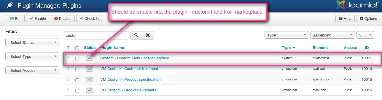 Virtuemart MarketPlace Custom Field