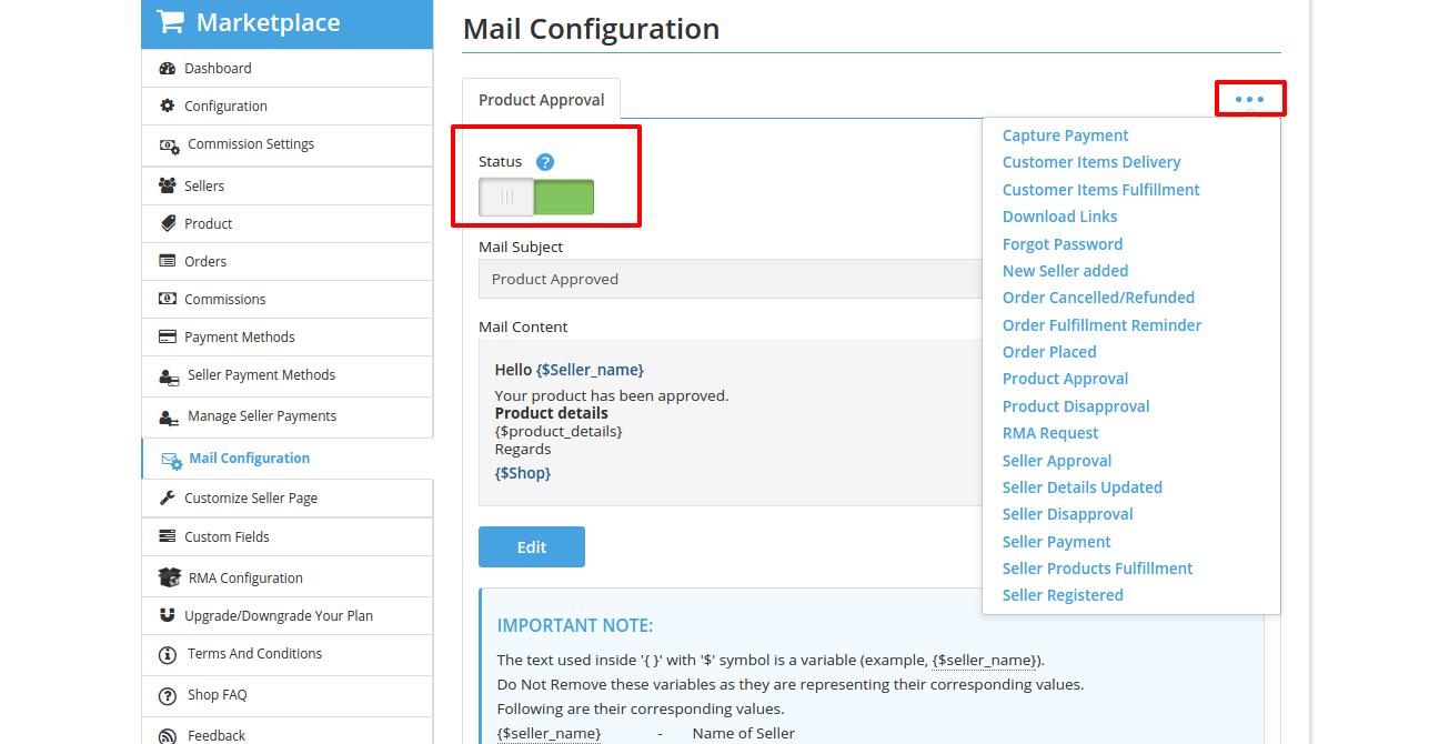 Mail Configuration Admin • Multivendor MarketPlace