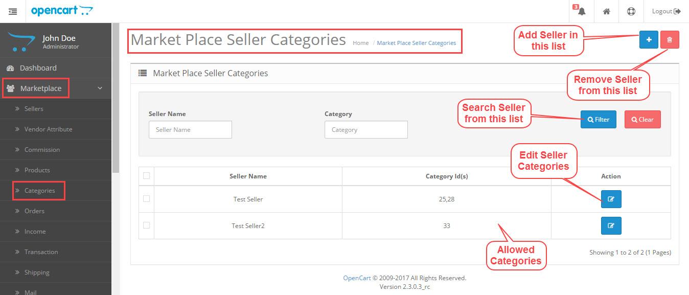 Opencart Marketplace - Seller categories