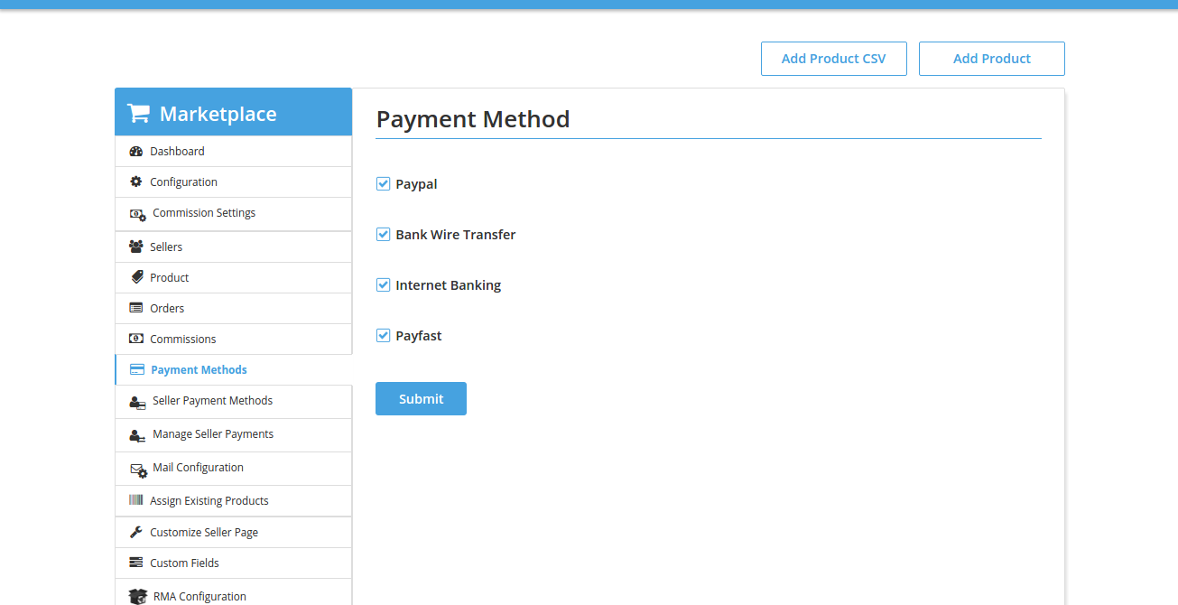 Payment Methods Admin • Multivendor MarketPlace