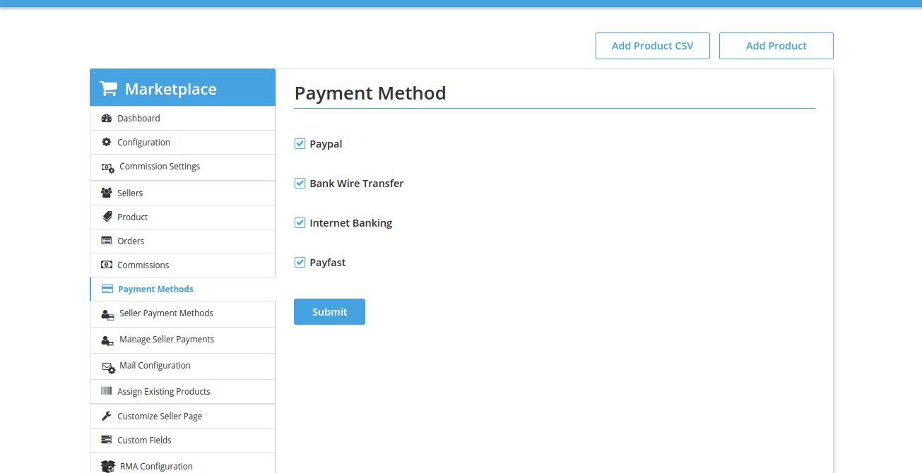 Payment Methods Admin • Multivendor MarketPlace