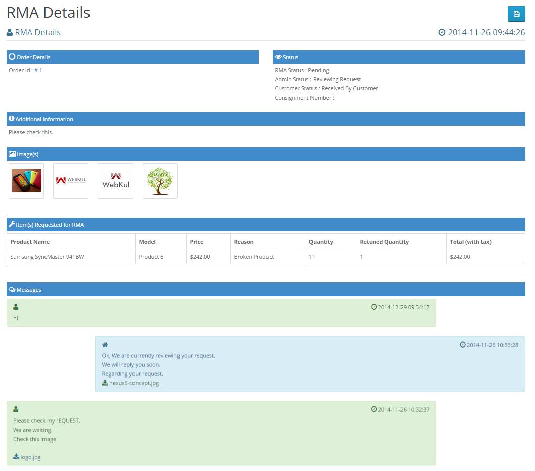 Opencart Product Return RMA