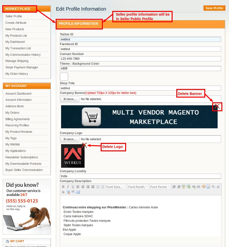 seller profile info