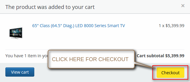 "Click on ""Checkout"" option"