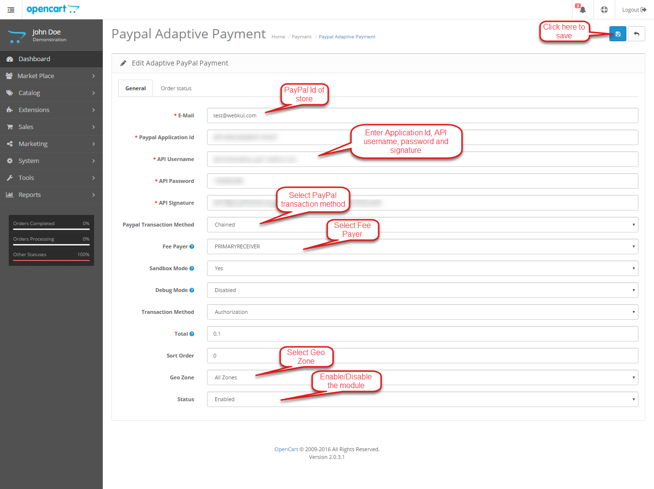 Opencart Marketplace Paypal Adaptive Payment Version2