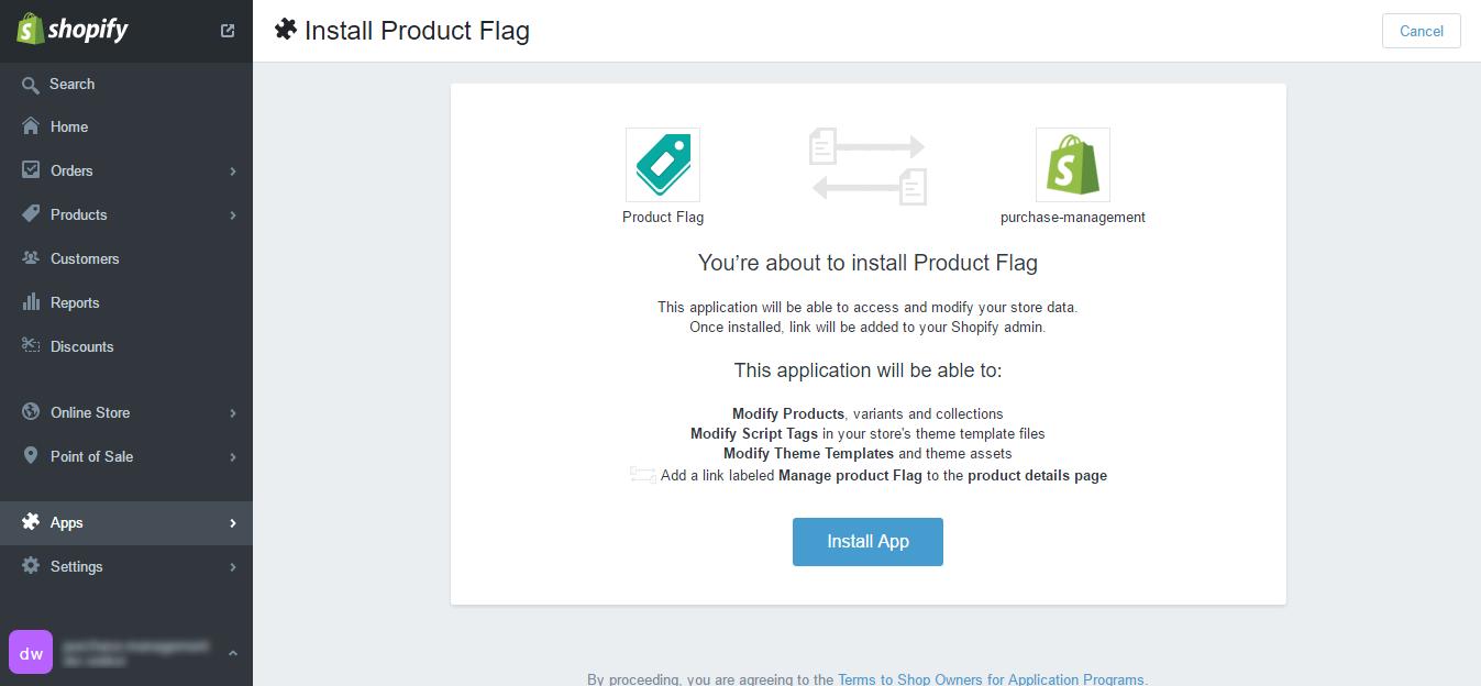 purchase management Authorize Product Flag Shopify