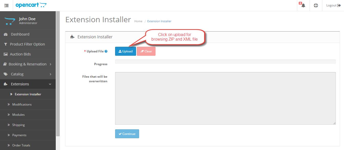 installation through ZIP and XML