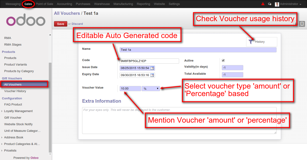 Odoo website vouchers – Creating a Voucher