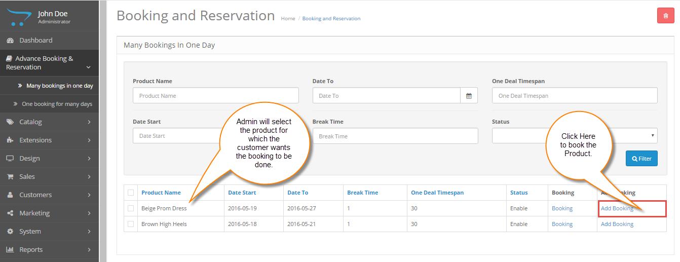 Back End reservation Management