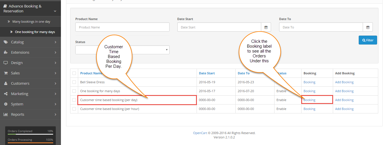 Customer Time Based Booking (Per Day)