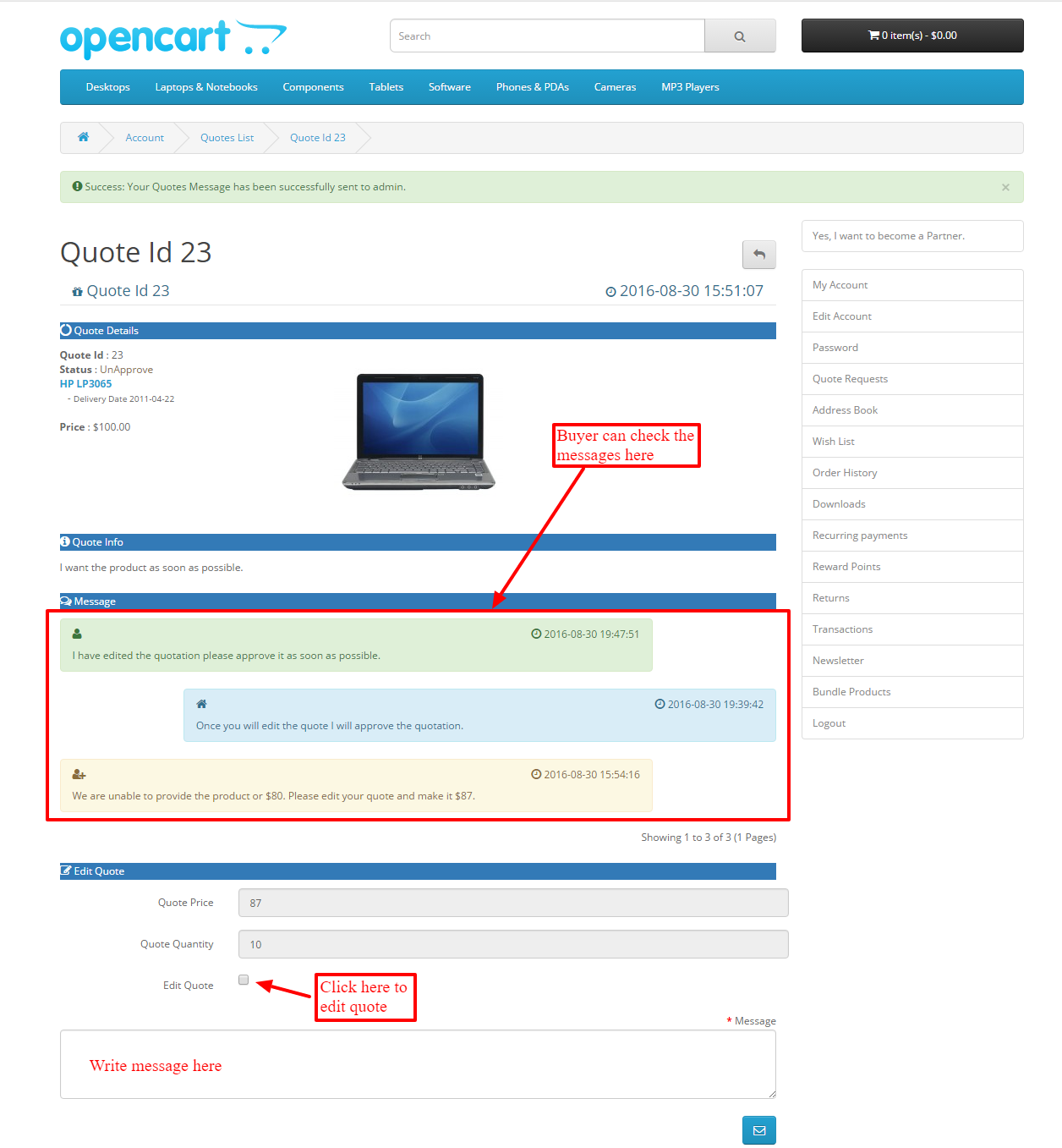 Opencart Marketplace Product Quote System - How to send quotation email to customer