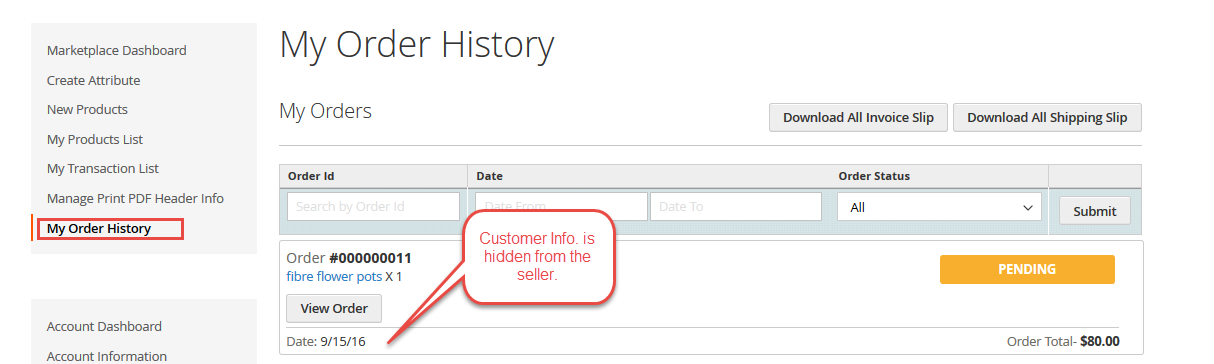 Order History Page