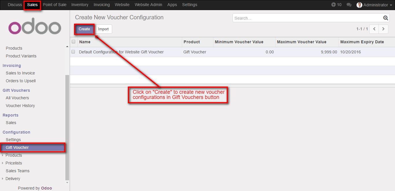 Odoo V10 Website Coupons Vouchers Odoo Website discounts – Create a Voucher