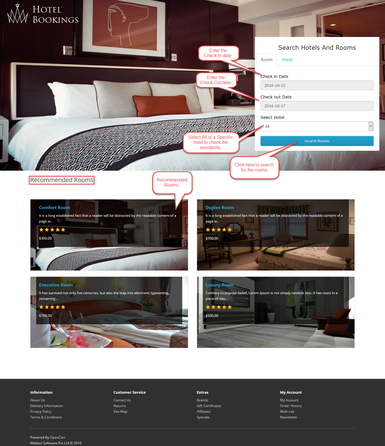 Hotel booking System for Opencart Front End Workflow