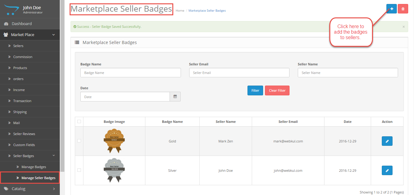 Manage Seller Badges