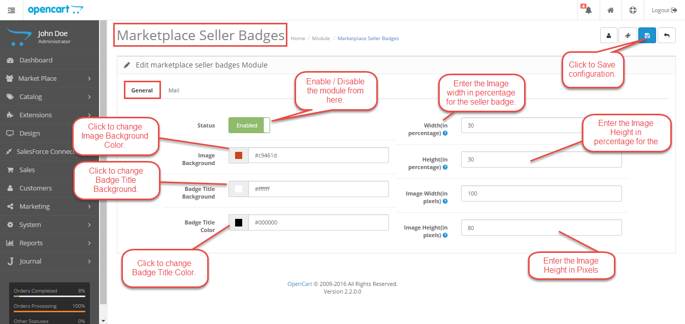 Configuration Of Opencart Marketplace Seller Badge