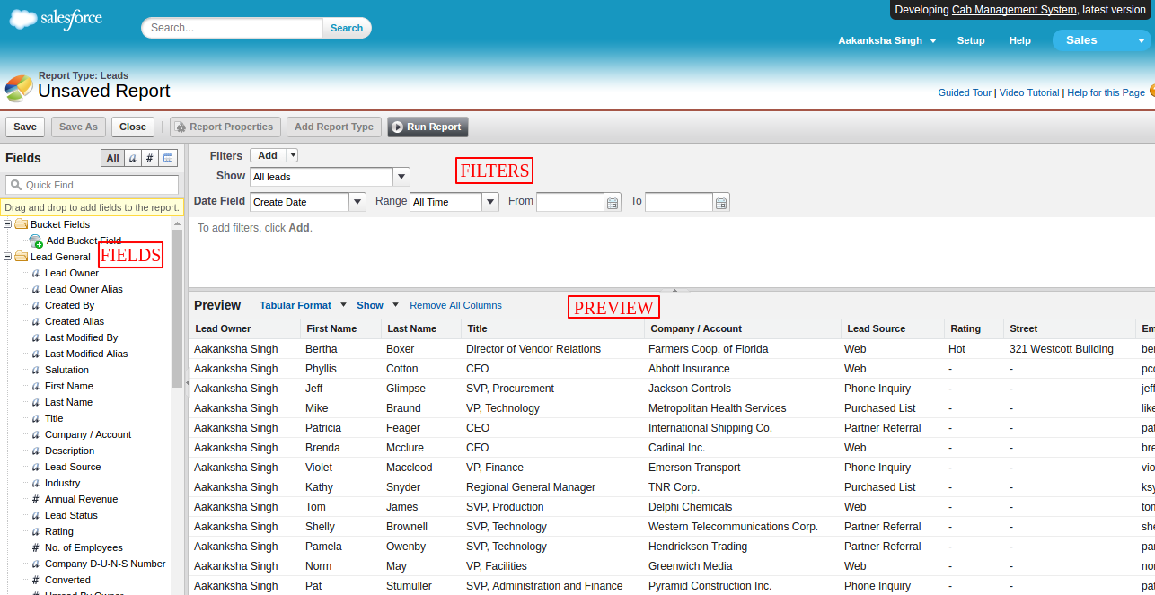 How to use the Report Builder in salesforce classic