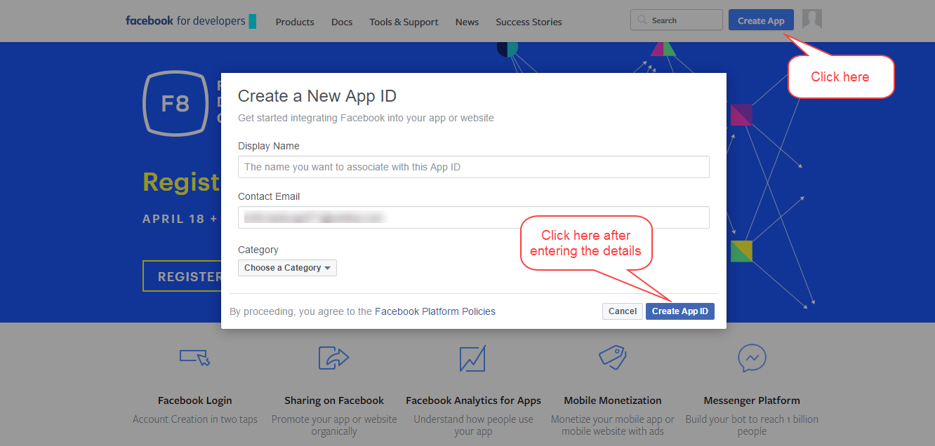 First, You Need To Create An App On Facebook, Please Click Here To Setup App  And Get Your Credentials
