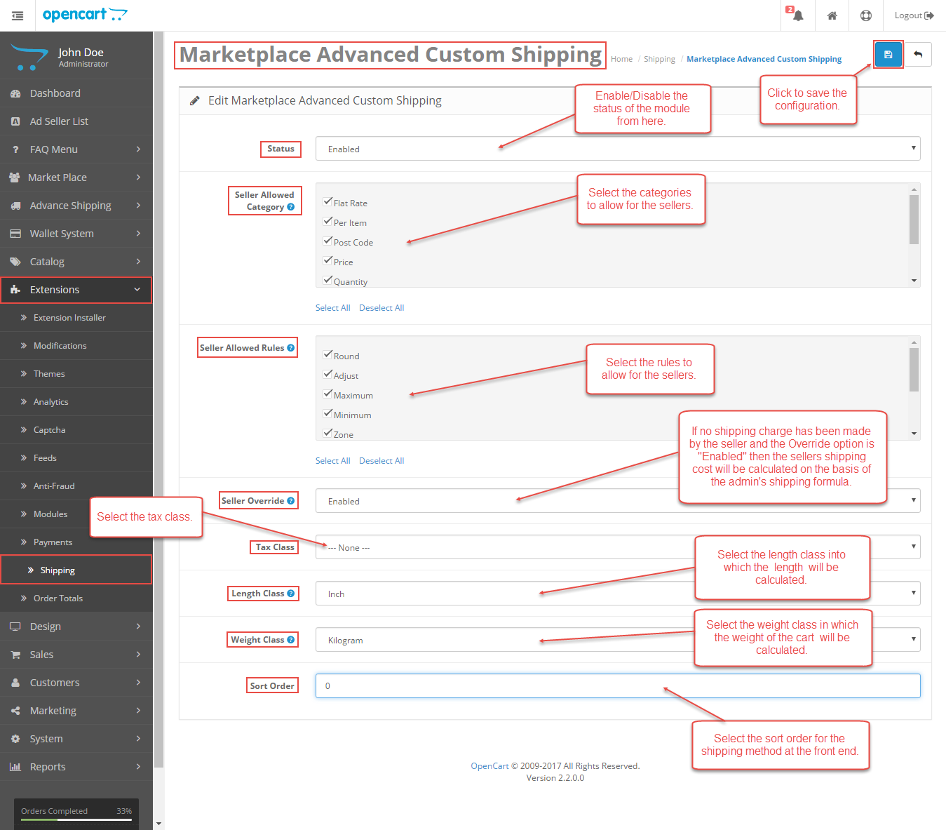Configuration Of Opencart Marketplace Advanced Custom Shipping