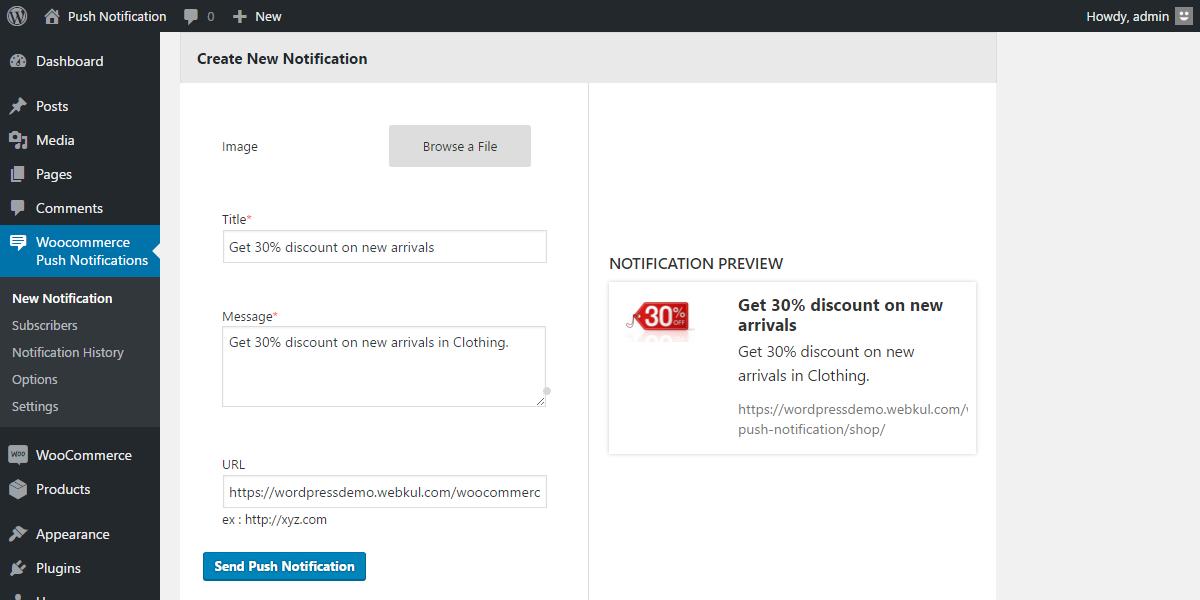 WordPress WooCommerce Web Push Notification