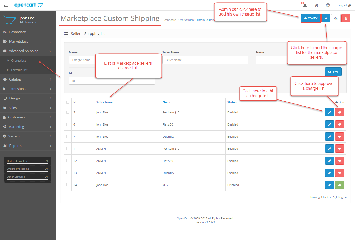 Admin Management - Opencart Marketplace Advanced Custom Shipping