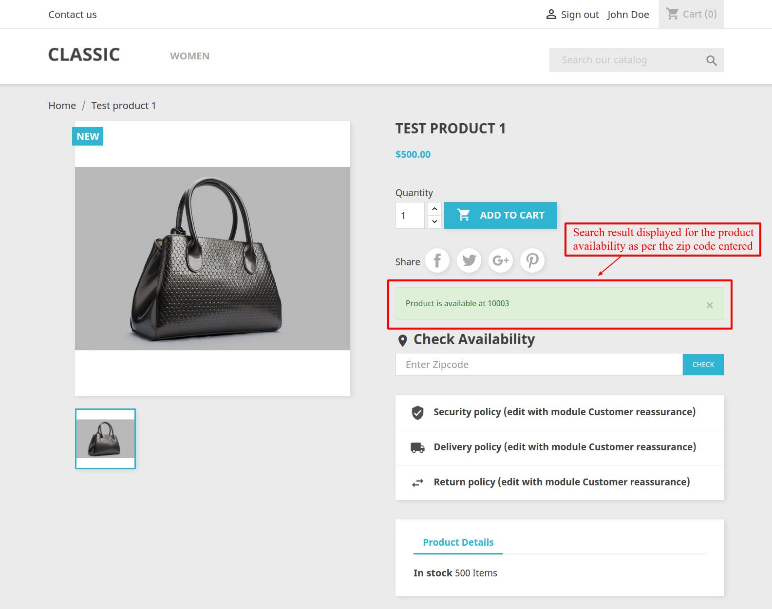 Prestashop Marketplace Zipcode Validator Product Availability Check - Us zip code address