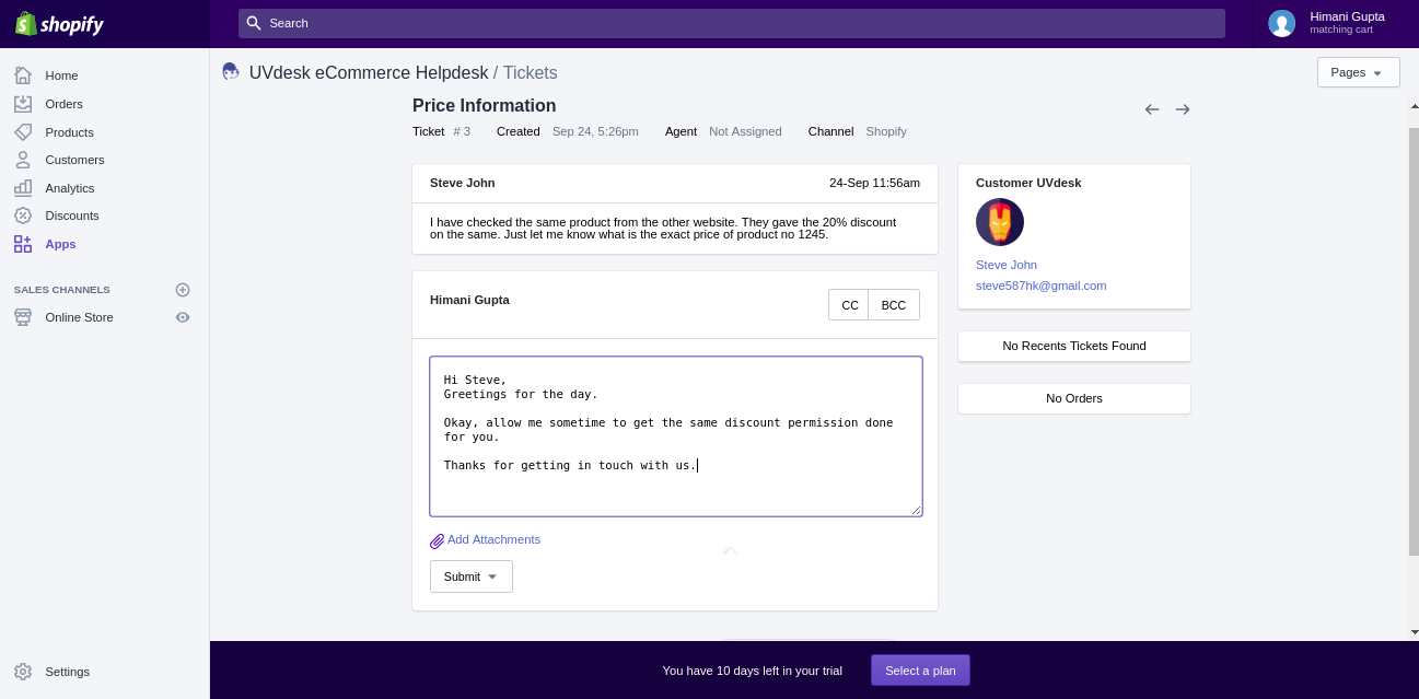 Shopify Helpdesk Inner Ticket View