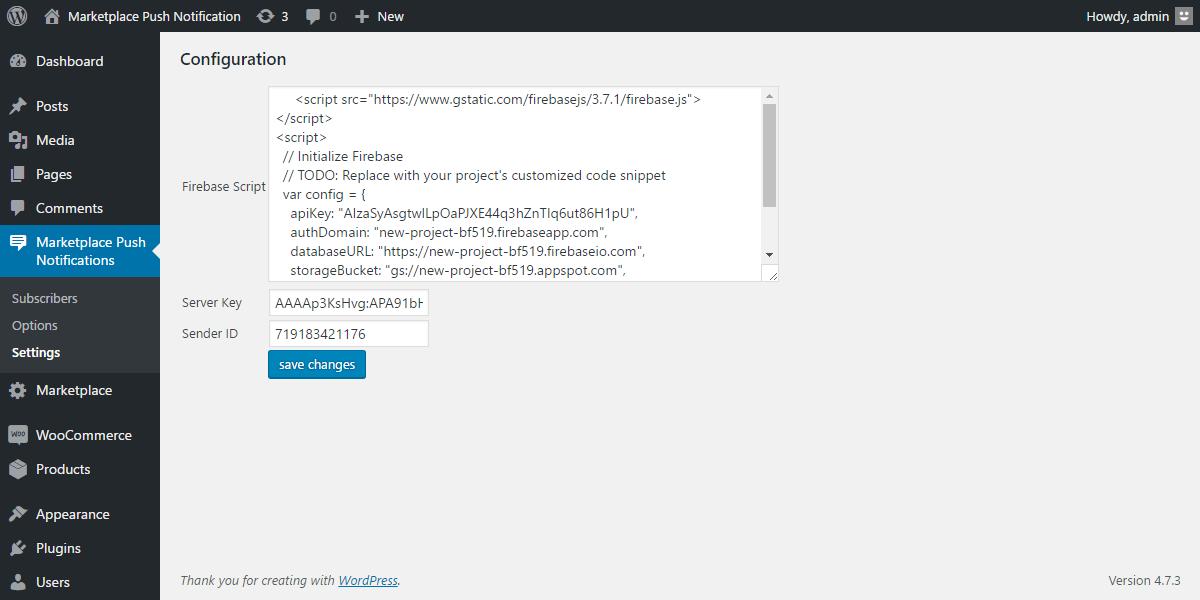 WordPress WooCommerce Marketplace Web Push Notification