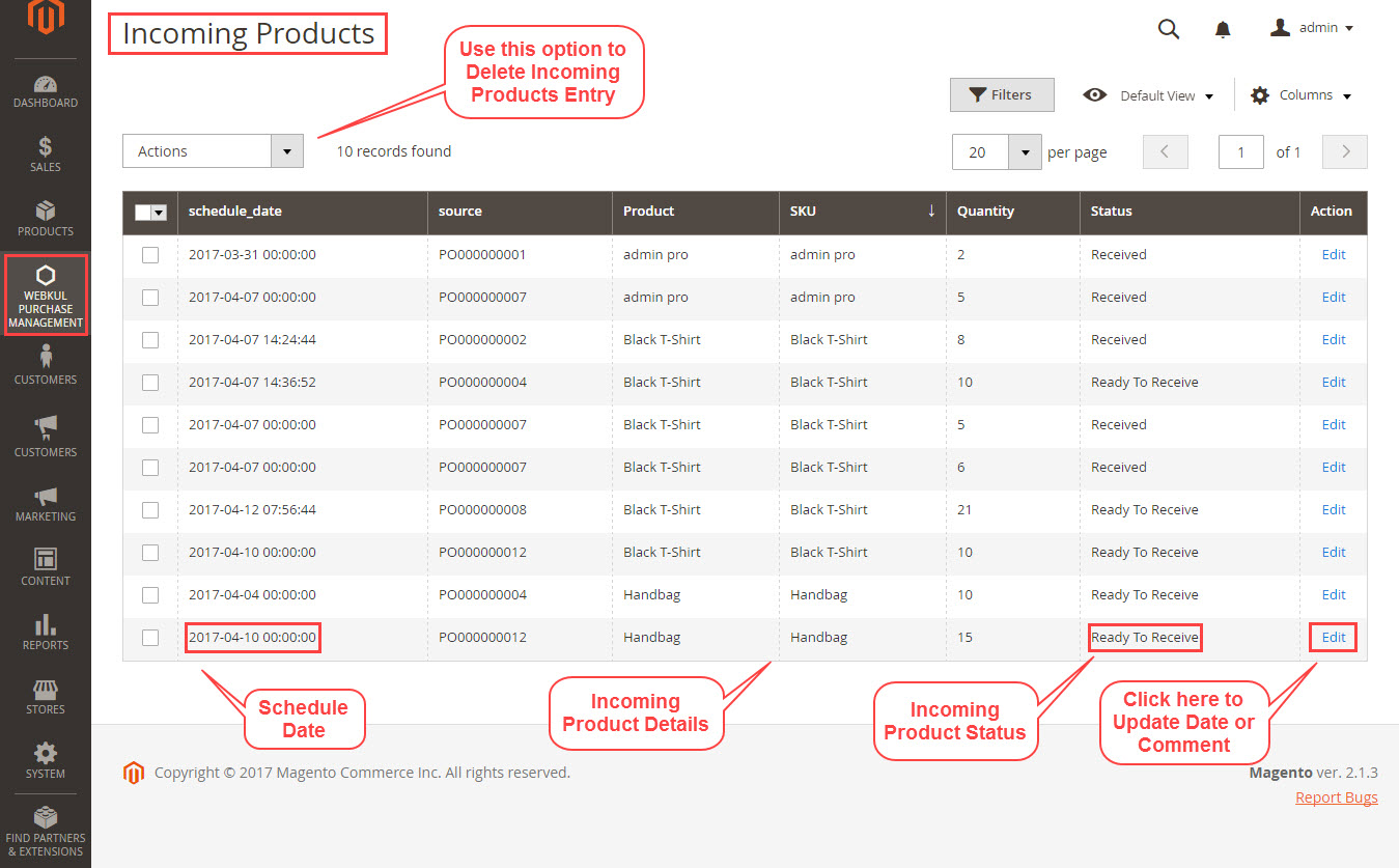 incoming products view