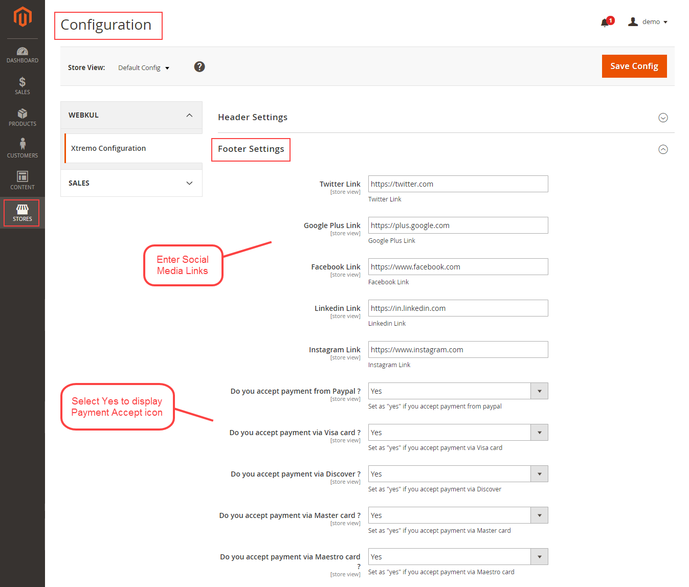 footer settings-xtremo-magento2