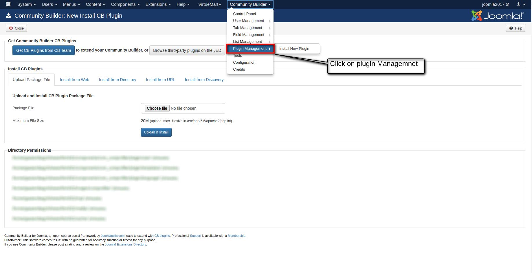 Click on plugin management
