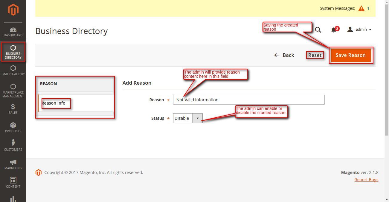 Magento 2 Business Directory reason add