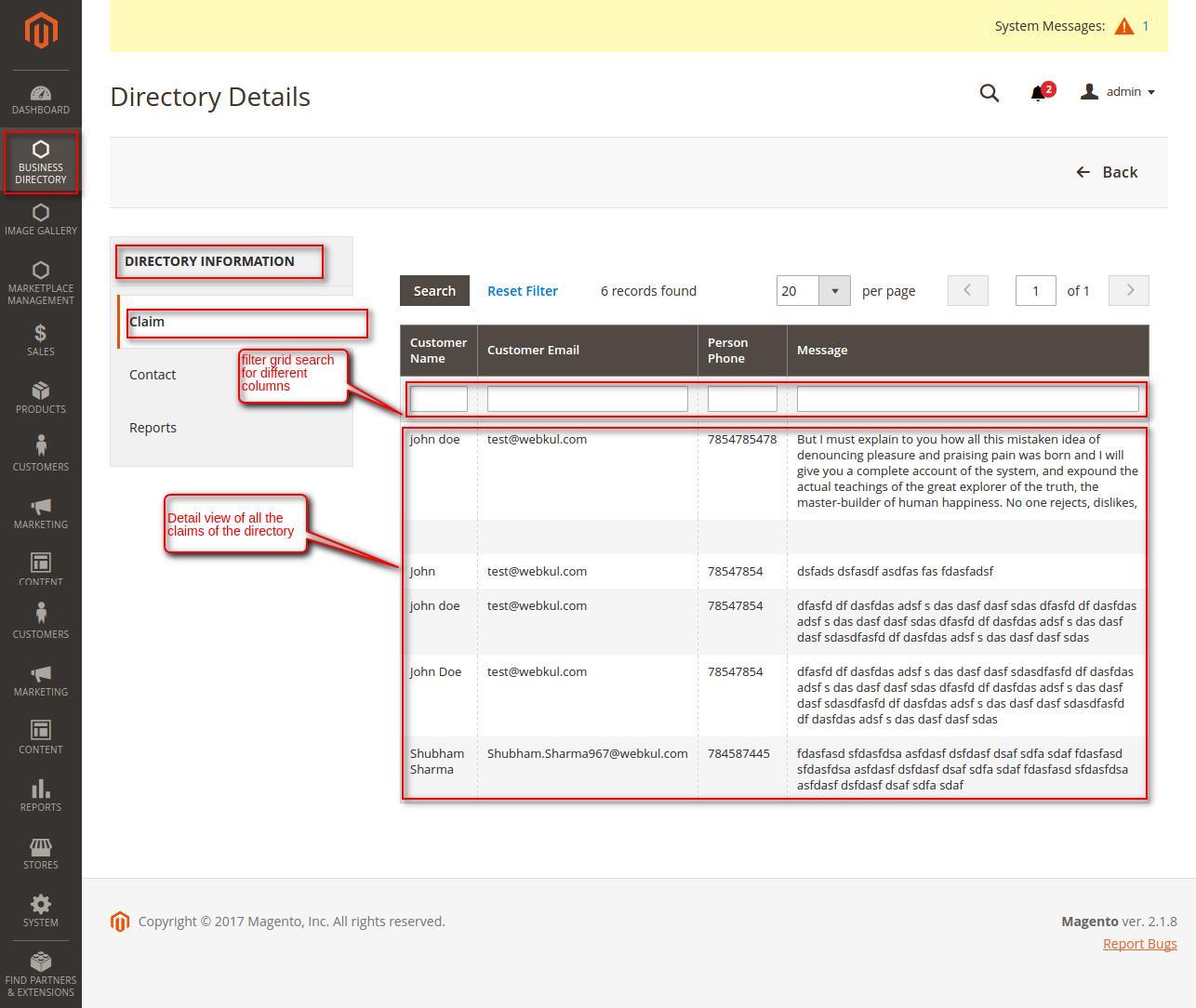 Magento 2 Business Directory claim