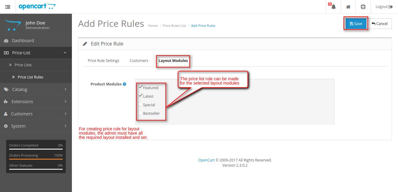 Opencart price list rule add new page layout