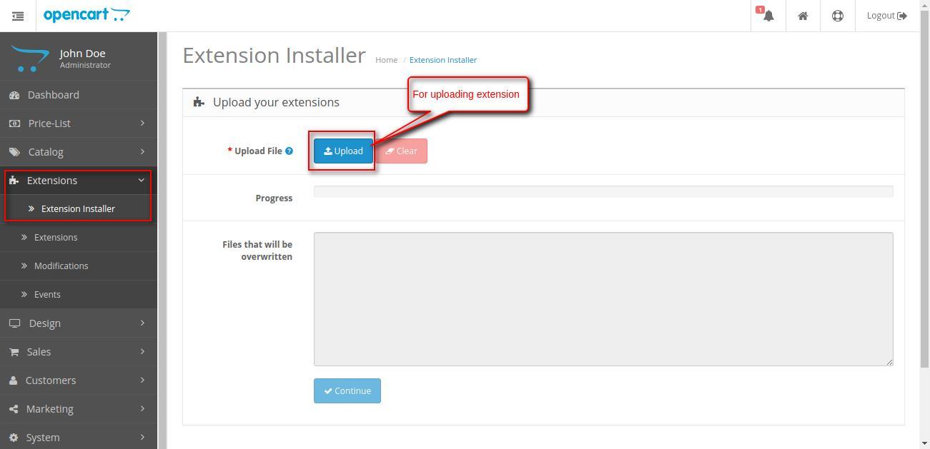 extension installer Opencart Pricelist