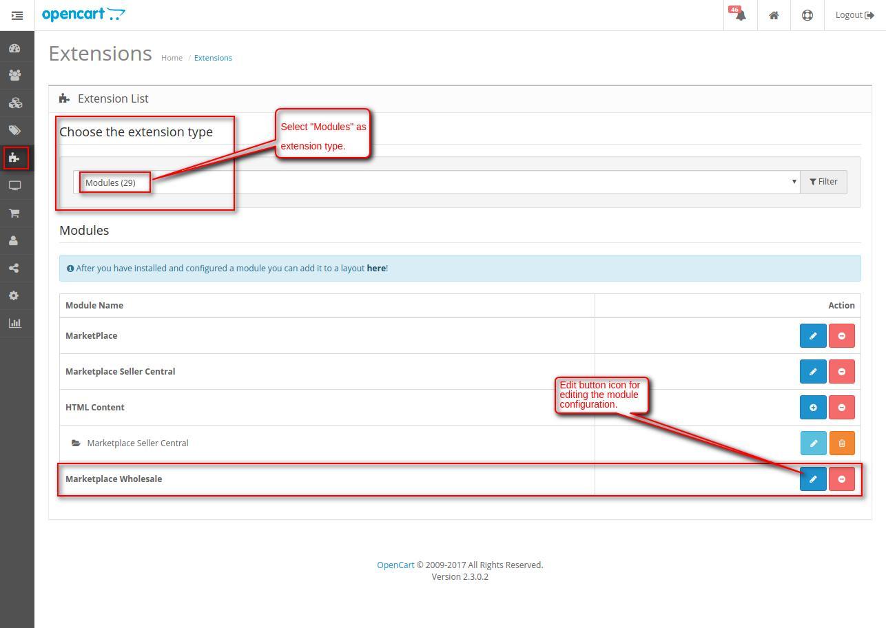 Opencart Marketplace Wholesaler edit button module configuration