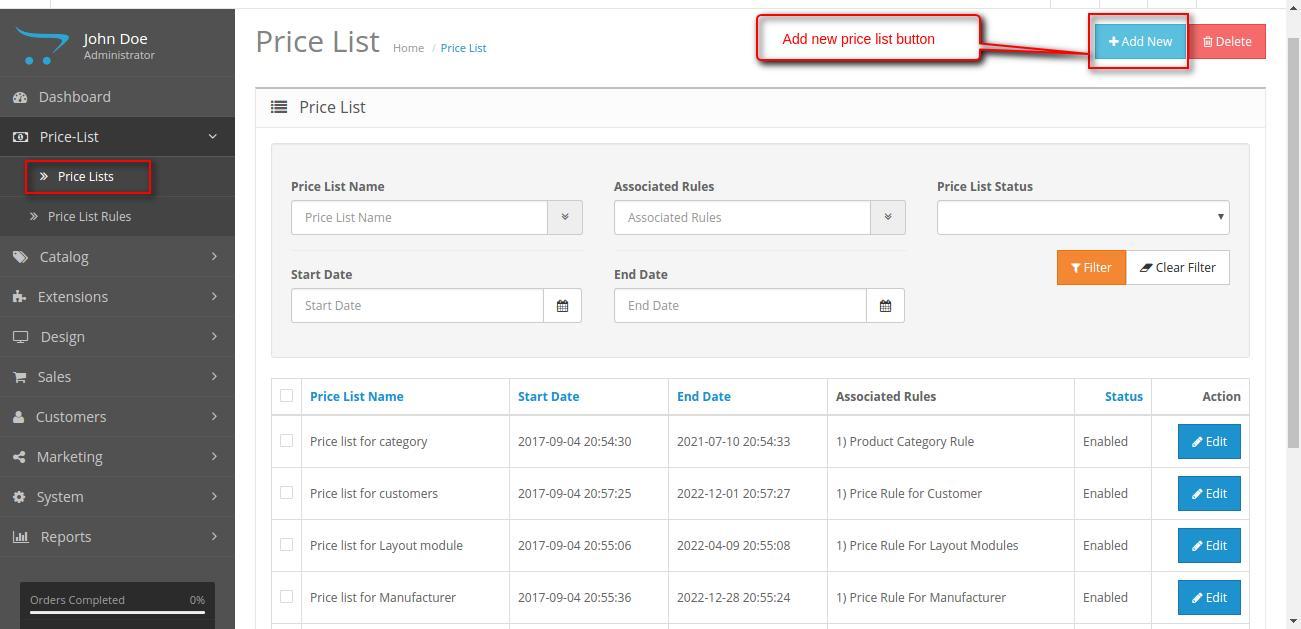 add price list button