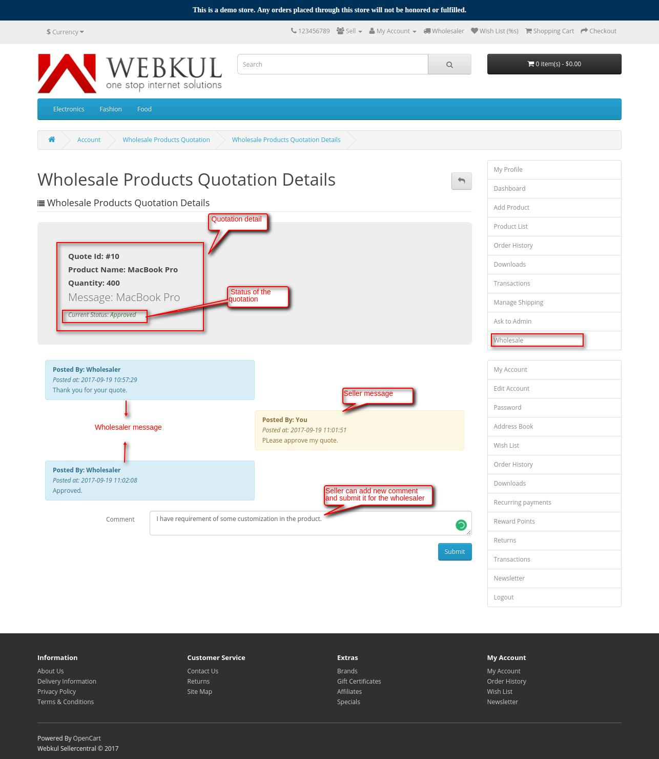 seller wholesale product quotation converastion